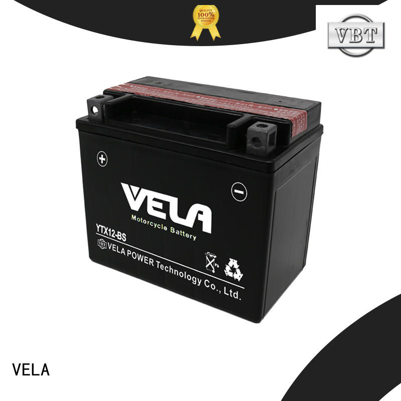 VELA low self discharged rate dry cell motorcycle battery satisfying for motorcycle industry