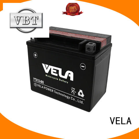VELA low self discharged rate dry cell battery widely used for motorcycle industry