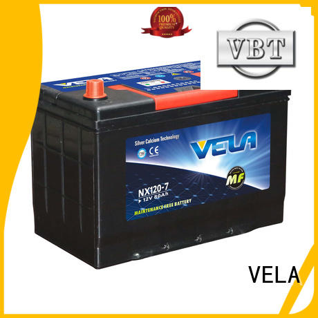 VELA durable 12v car battery widely employed for car industry
