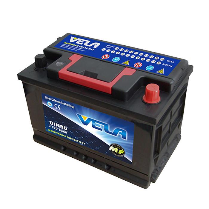 12V 80Ah maintenance free car battery DIN80L